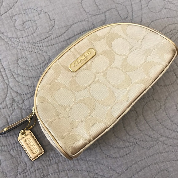 Coach Handbags - Coach Makeup Cosmetic Pouch Bag Gold